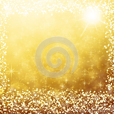 Gold christmas background white lights and stars