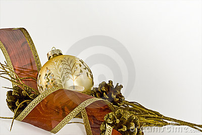 Gold Christmas Ball with Red Ribbon