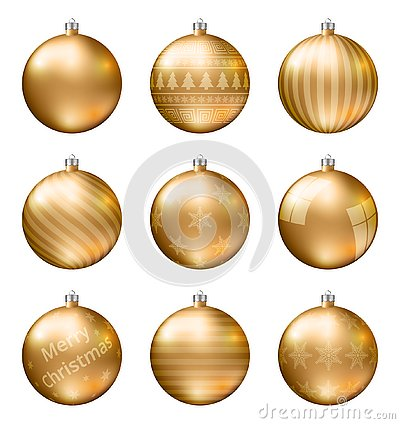 Free Gold Christmas Balls Isolated On White Background. Photorealistic High Quality Vector Set Of Christmas Baubles. Royalty Free Stock Images - 129541729