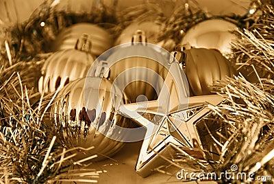Gold Christmas balls and stars