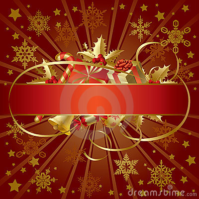 Free Gold Christmas Banner Royalty Free Stock Photo - 3722645