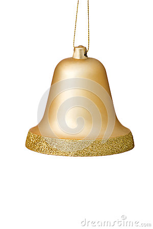Free Gold Christmas Bell Ornament On White Background. Royalty Free Stock Photography - 26720487