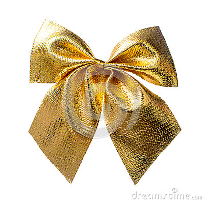 Free Gold Christmas Bow Royalty Free Stock Image - 52521426