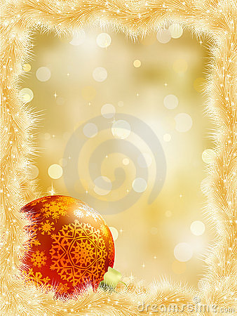 Gold christmas card with copy sace. EPS 8