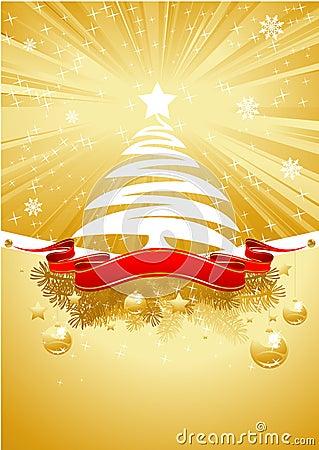 Free Gold Christmas Card With Christmas Tree Stock Photo - 17050450