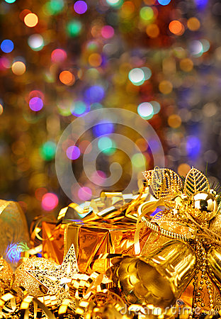 Gold Christmas decorations.