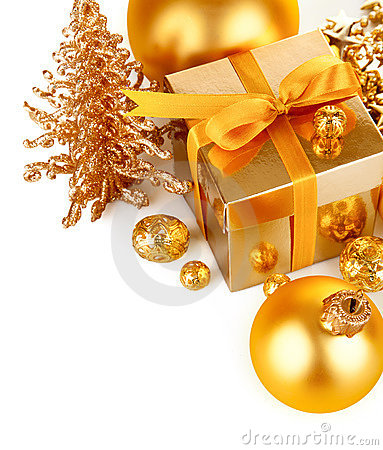 Gold christmas gift with balls