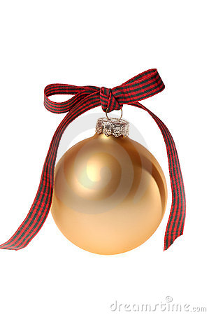 Free Gold Christmas Ornament Glass Ball With Plaid Ribbon Royalty Free Stock Image - 1356926