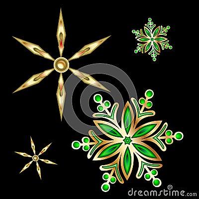 Gold Christmas Satr And Snoflake.