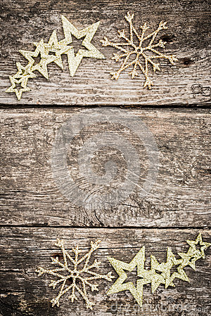 Gold Christmas Tree Decorations On Grunge Wood Stock