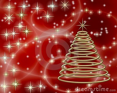 Gold Christmas tree on red