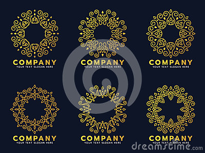 Gold circle flower line art for logo and frame vector set design Vector Illustration