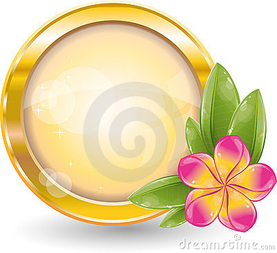 Gold circle frame with pink frangipani flower