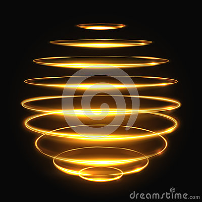 Free Gold Circle Light Tracing Effect, Glowing Magic 3d Sphere Vector Illustration Stock Photography - 84647912