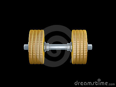 Gold coin barbell