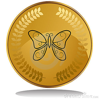 Gold Coin - Butterfly