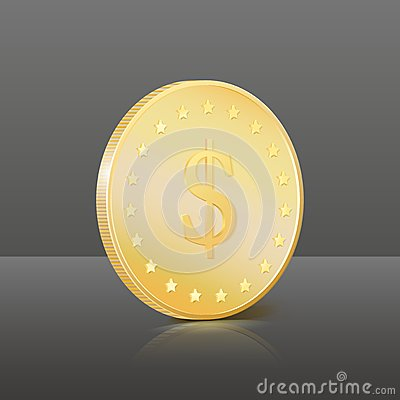 Gold coin with dollar sign. Vector illustration