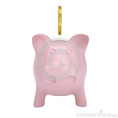 Gold coin drops into a pink piggy bank