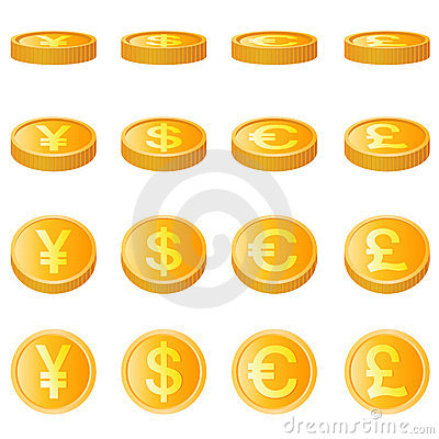Free Gold Coin, Four Monetary Unit Vector Royalty Free Stock Photography - 6998937