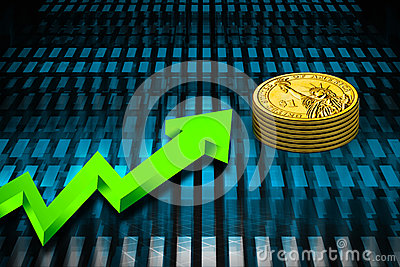 Gold coin and graph