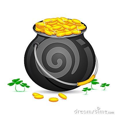 Gold Coin Pot of Saint Patrick Day
