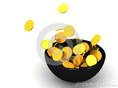 Gold coin splash in bowl