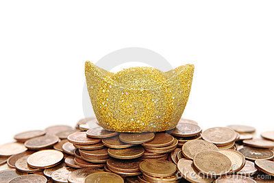 Gold Coinand money over white
