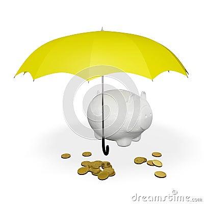 Free Gold Coins And Piggy Bank Under Umbrella Stock Photos - 47952083