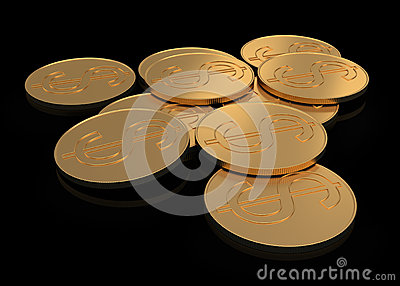 Gold coins on black