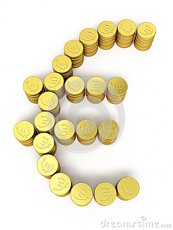 Gold coins euro sign