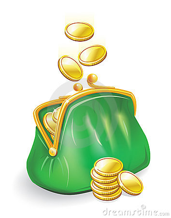 Gold coins fall into a purse