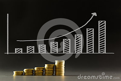 Gold coins with financial chart