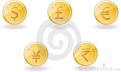 Gold coins with foreign currency