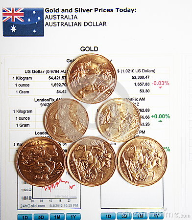 Gold coins on gold price article background