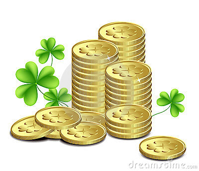 Gold coins and leaves of clover, St. Patrick s Da