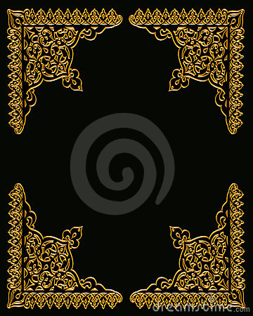 Gold Corners Design on Black