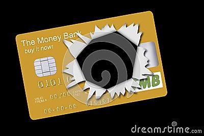 Gold credit card exploded, debt finance metaphor