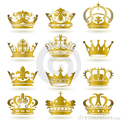 Free Gold Crown Icons Set Stock Images - 16163214