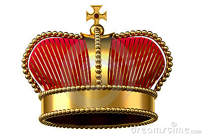 Gold crown with jewels and red velvet