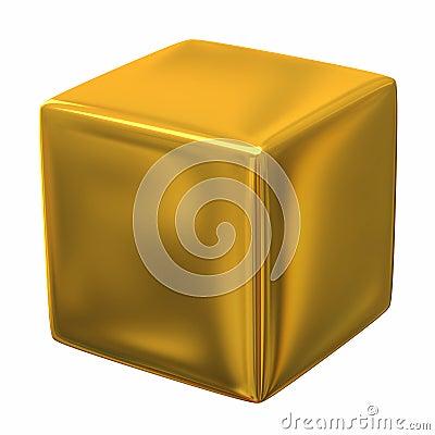 Gold cube 3d