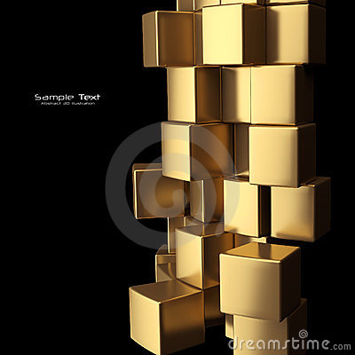 Gold cubes abstract background