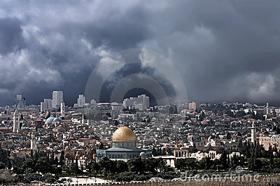 Gold cupola of Jerusalem before the thunderstorm.