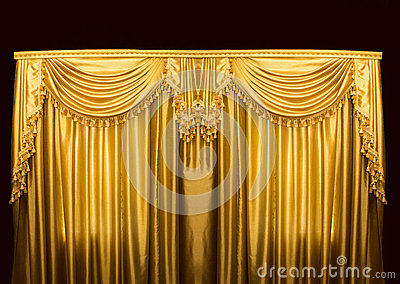 Gold Curtains On Stage Stock Photo - Image: 68579180