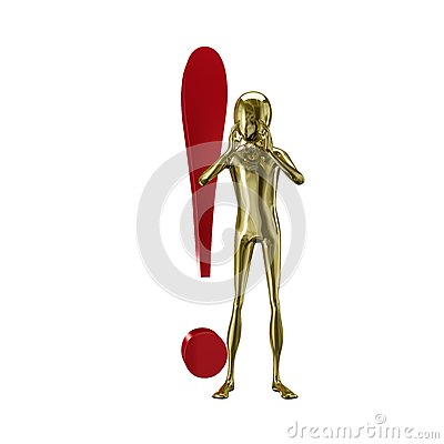 Gold 3d humanoid with exclamation