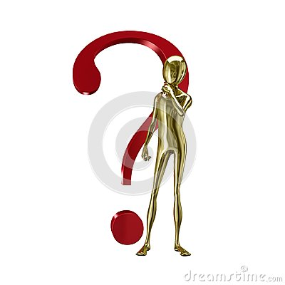 Gold 3d humanoid with question