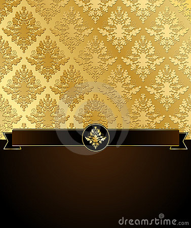 Gold Damask Vector Background with Copyspace