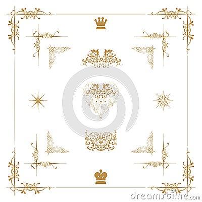 gold decorative elements,
