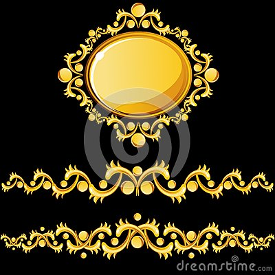 Gold dividers and medallion