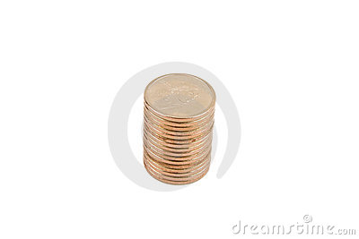 Gold Dollar Coins Isolated on a White Background