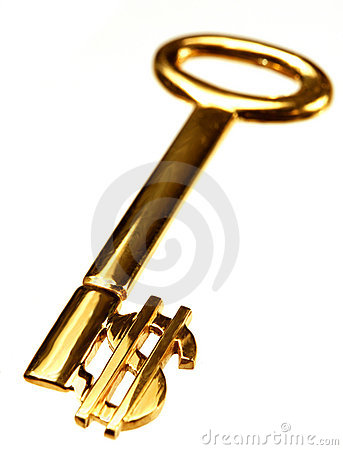 Free Gold Dollar Key Royalty Free Stock Photos - 756288